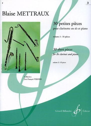 30 Petites pièces - Volume 3 - Blaise Mettraux - laflutedepan.com