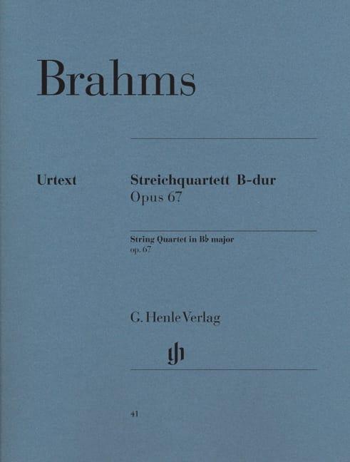 BRAHMS - String quartet in B flat major op. 67 - Partition - di-arezzo.co.uk