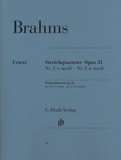 BRAHMS - String Quartets N ° 1 and N ° 2 - Partition - di-arezzo.co.uk
