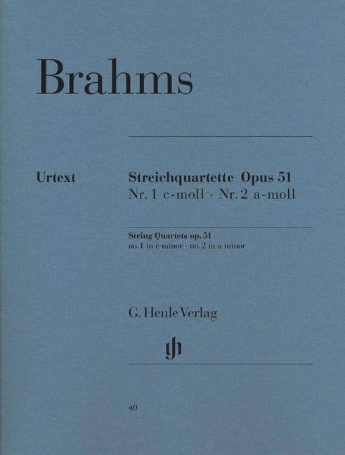 Quatuors à Cordes N° 1 et N° 2 - BRAHMS - Partition - laflutedepan.com