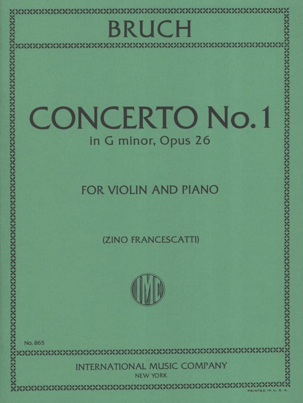 Max Bruch - Concerto No. 1 Minor Floor Op.26 - Partition - di-arezzo.co.uk