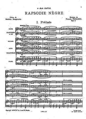 Francis Poulenc - Rhapsody Negro - Driver - Partition - di-arezzo.co.uk