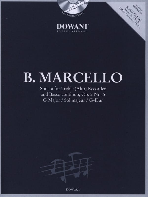 Benedetto Marcello - Sonata op. 2 No. 5 in G major - Treble recorder Bc - Partition - di-arezzo.co.uk