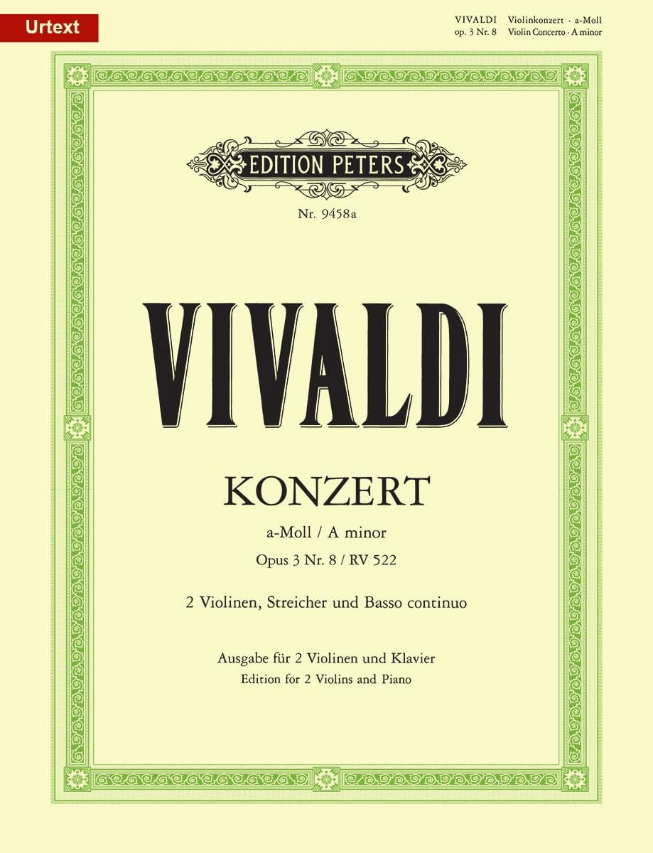 VIVALDI - Concerto In A minor. Op.3 N ° 8 - Rv 522 - Partition - di-arezzo.co.uk