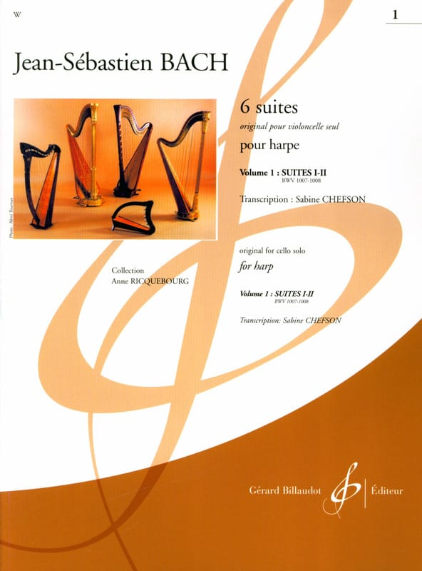 6 Suites - Volume 1 - harpe - BACH - Partition - laflutedepan.com