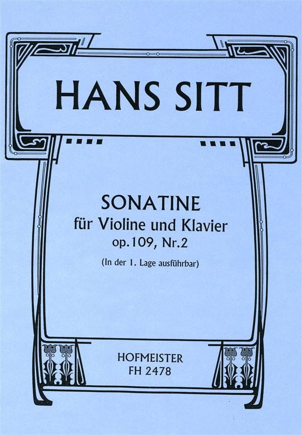 Hans Sitt - Sonatine Op.109 N ° 2 - Partition - di-arezzo.co.uk