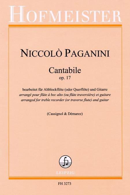 Cantabile Op.17 - PAGANINI - Partition - Duos - laflutedepan.com
