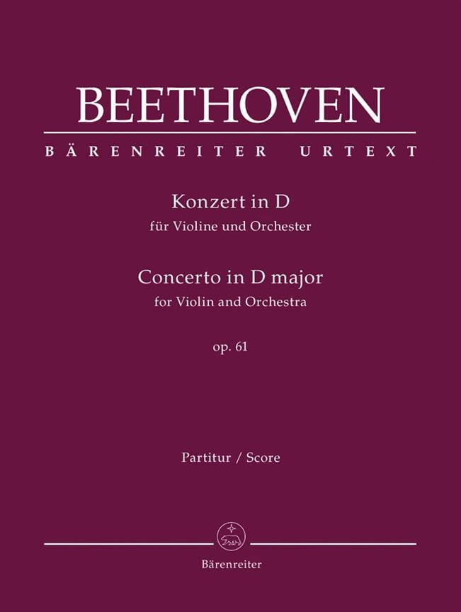 BEETHOVEN - Concerto In D Maj. Op. 61 For Violin and Orchestra - Partition - di-arezzo.co.uk
