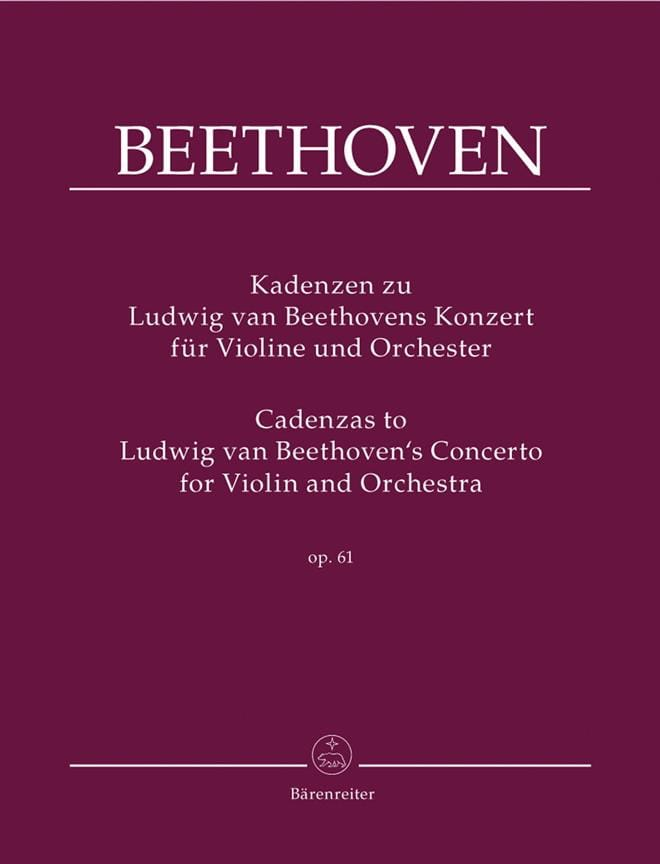 BEETHOVEN - Cadences On Beethoven's Concerto Op.61 - Partition - di-arezzo.co.uk