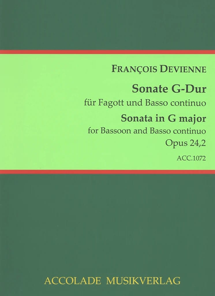 François Devienne - Sonata for Bassoon Opus 24 N ° 2 - Partition - di-arezzo.com