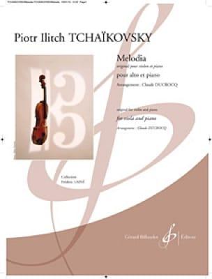 Melodia - Alto et piano - TCHAIKOVSKY - Partition - laflutedepan.com