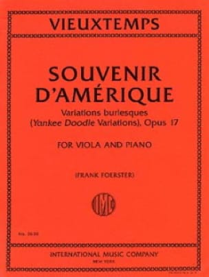 Henri Vieuxtemps - Recuerdo de América Opus 17 - Partition - di-arezzo.es