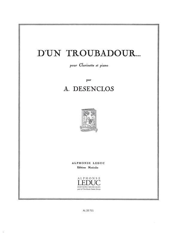 D'un Troubadour ... - Alfred Desenclos - Partition - laflutedepan.com