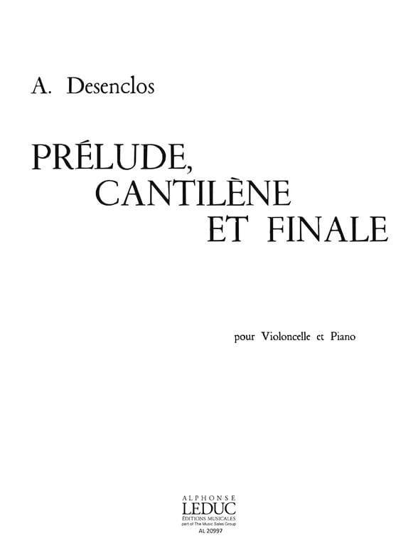 Prélude Cantilène et Finale - Alfred Desenclos - laflutedepan.com