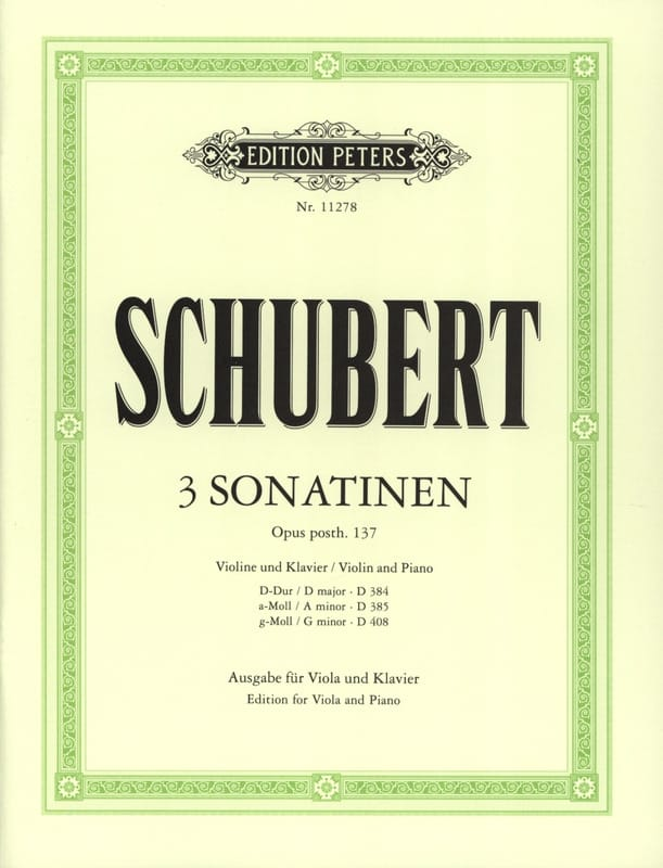 SCHUBERT - 3 Sonatins Opus Posth.137 - Partition - di-arezzo.co.uk