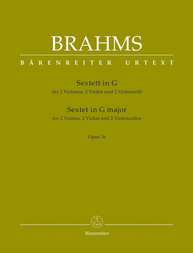 BRAHMS - Sextet Opus 36 in G Major - Partition - di-arezzo.com
