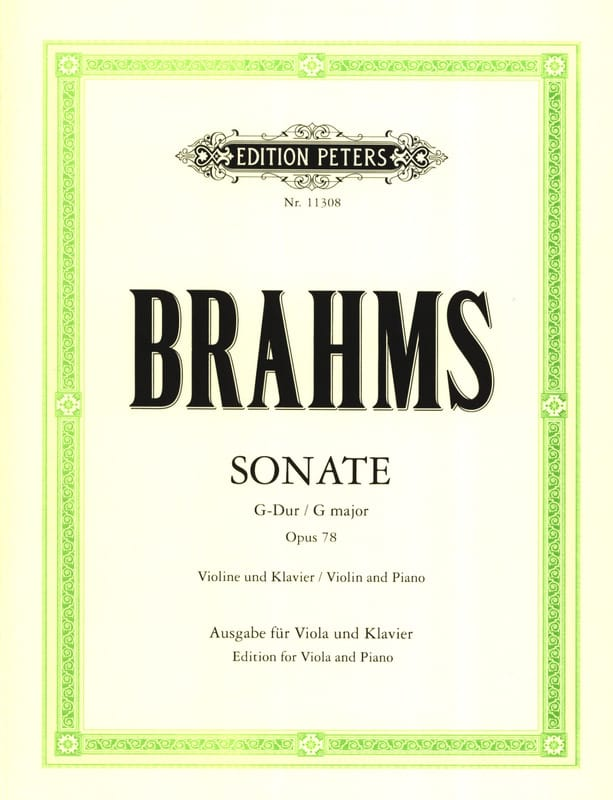 BRAHMS - Sonate en Sol Majeur Op.78 - Alto et Piano - Partition - di-arezzo.fr