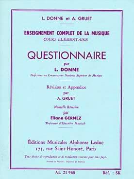 L. et Gruet A. Donne - Questionnaire - Elementary Course - Partition - di-arezzo.co.uk
