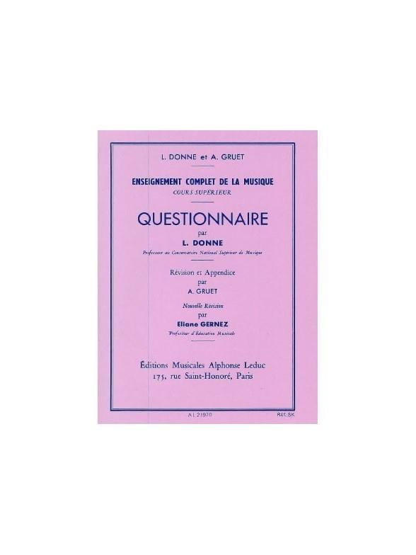 L. et Gruet A. Donne - Questionnaire - Superior Course - Partition - di-arezzo.co.uk