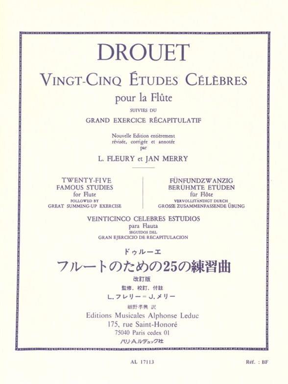Louis Drouet - 25 Famous Studies - Flute - Partition - di-arezzo.com