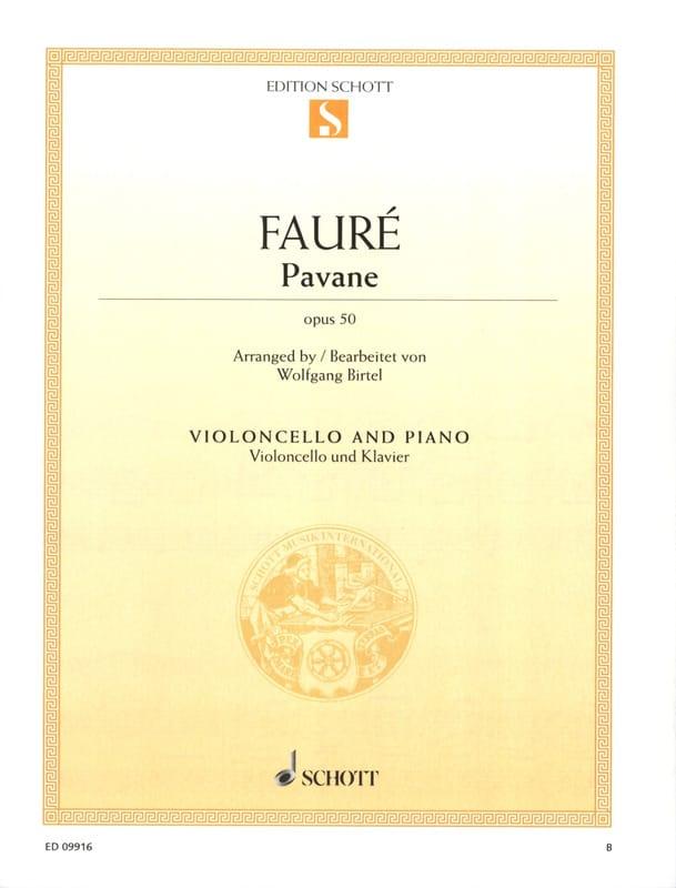 Pavane Op. 50 - Violoncelle - FAURÉ - Partition - laflutedepan.com