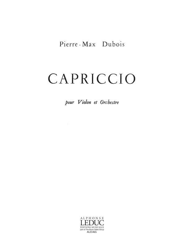 Capriccio - Pierre-Max Dubois - Partition - Violon - laflutedepan.com
