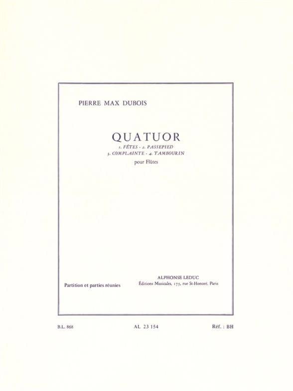 Quatuor - Flûtes - Pierre-Max Dubois - Partition - laflutedepan.com