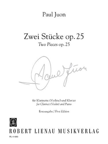 2 Pièces Opus 25 - Paul Juon - Partition - laflutedepan.com