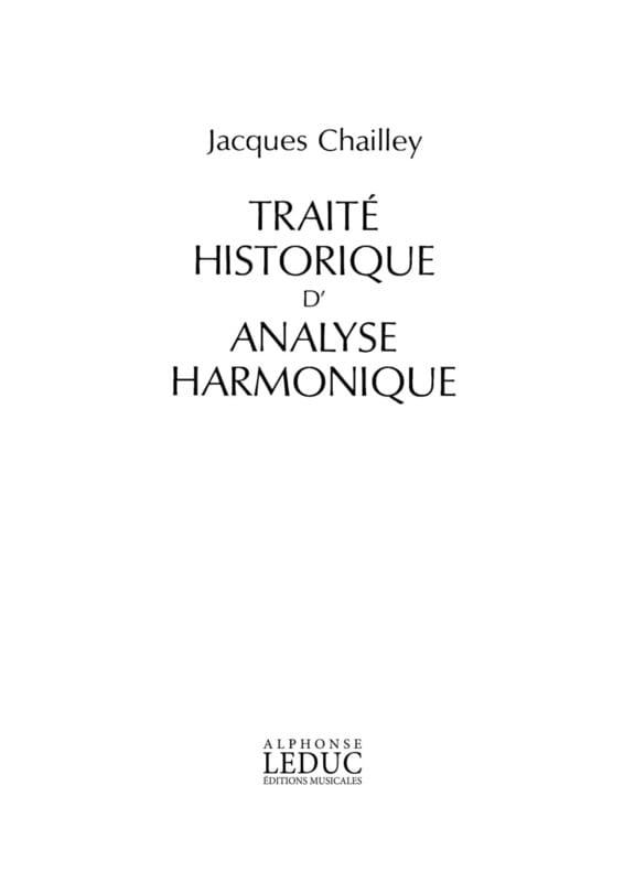 Traité historique d'analyse harmonique - laflutedepan.com