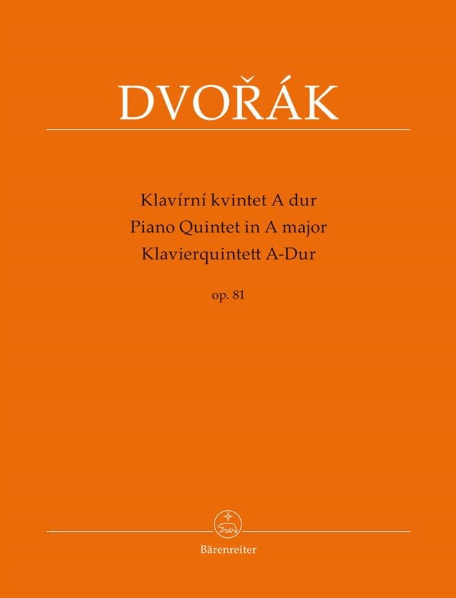DVORAK - Quintet with piano in A major, op. 81 - Partition - di-arezzo.com