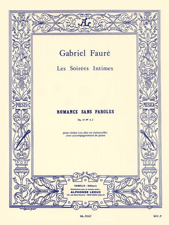 Gabriel Fauré - Romance Without Words Op. 17 N ° 3 - Partition - di-arezzo.co.uk