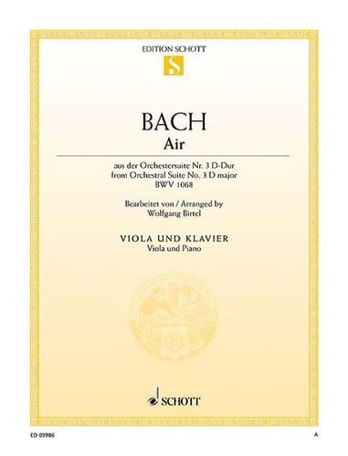 BACH - Air of the Suite in D, BWV 1068 - Partition - di-arezzo.co.uk