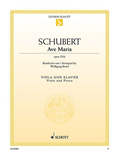 SCHUBERT - Ave Maria, opus 52 n ° 6 - Partition - di-arezzo.co.uk