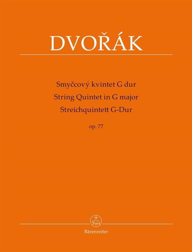 DVORAK - String Quintet in G Major, op. 77 - Partition - di-arezzo.co.uk