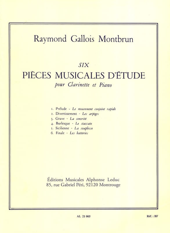 Raymond Gallois-Montbrun - 6 Musical study pieces - Clarinet - Partition - di-arezzo.com