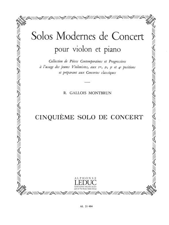 Raymond Gallois-Montbrun - Concert Solo n ° 5 - Partition - di-arezzo.co.uk