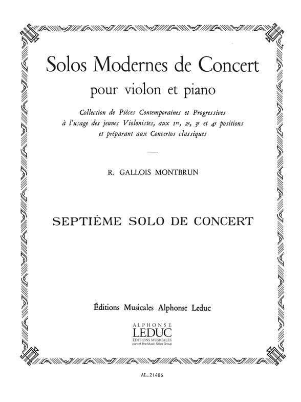 Raymond Gallois-Montbrun - Concert Solo n ° 7 - Partition - di-arezzo.co.uk
