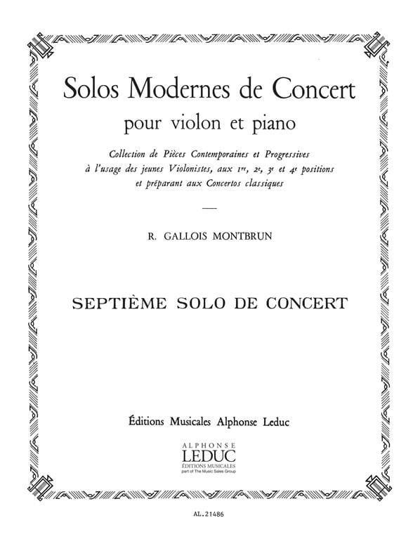 Raymond Gallois-Montbrun - Concert Solo n ° 7 - Partition - di-arezzo.com