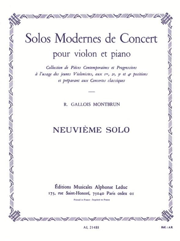 Raymond Gallois-Montbrun - Concert Solo n ° 9 - Partition - di-arezzo.co.uk