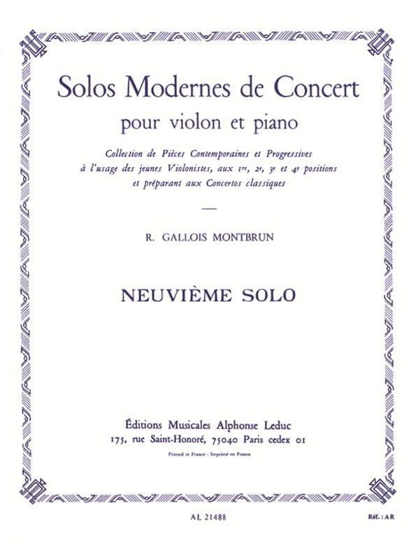 Raymond Gallois-Montbrun - Concert Solo n ° 9 - Partition - di-arezzo.com