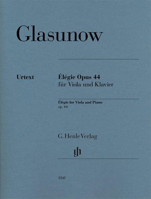 Alexandre Glazounov - Elégie, Opus 44 - Alto and Piano - Partition - di-arezzo.co.uk
