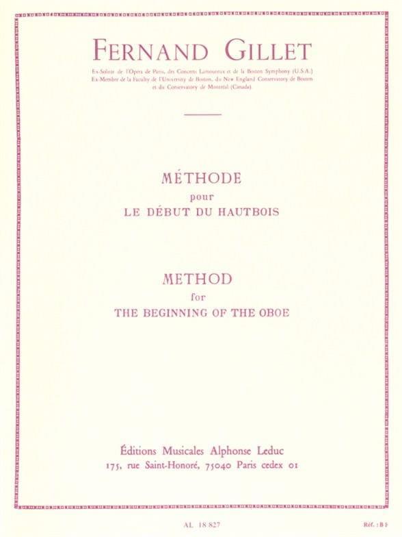 Méthode pour le début du hautbois - Fernand Gillet - laflutedepan.com
