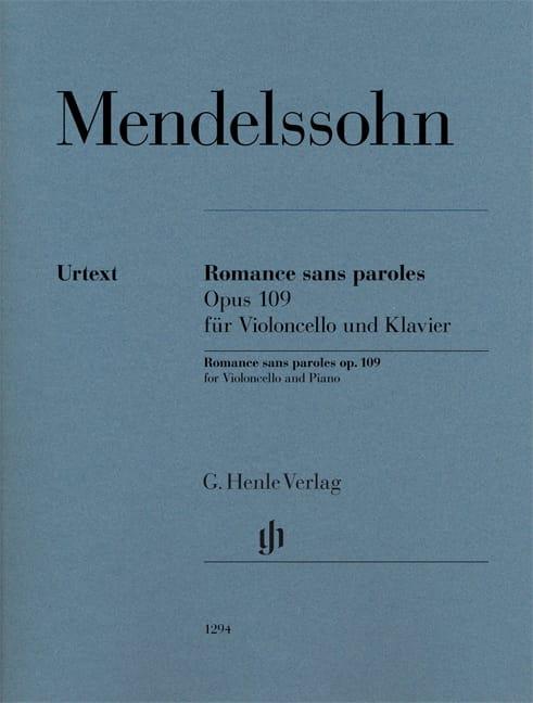 MENDELSSOHN - Romance sin palabras, op. 109 - Violonchelo y piano - Partition - di-arezzo.es