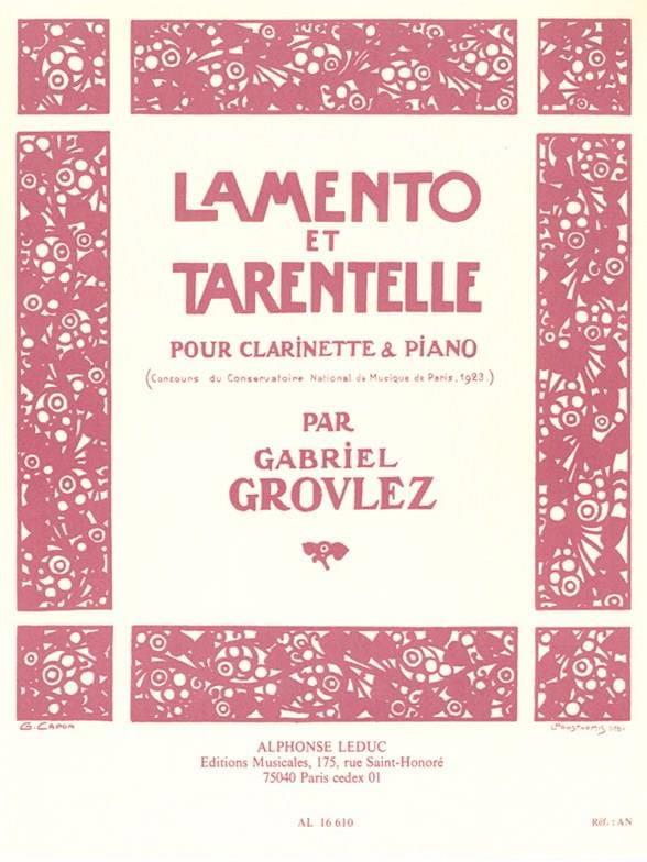 Gabriel Grovlez - Lamento and Tarantella - Partition - di-arezzo.co.uk