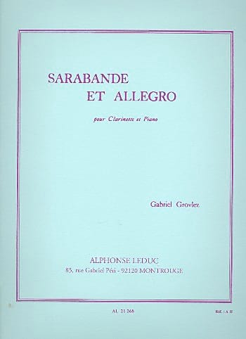 Gabriel Grovlez - Sarabande and Allegro - Clarinet - Partition - di-arezzo.co.uk
