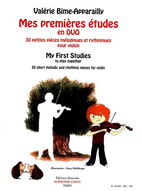 Valérie Bime-Apparailly - Mes premières études en Duo - 2 violons - Partition - di-arezzo.fr