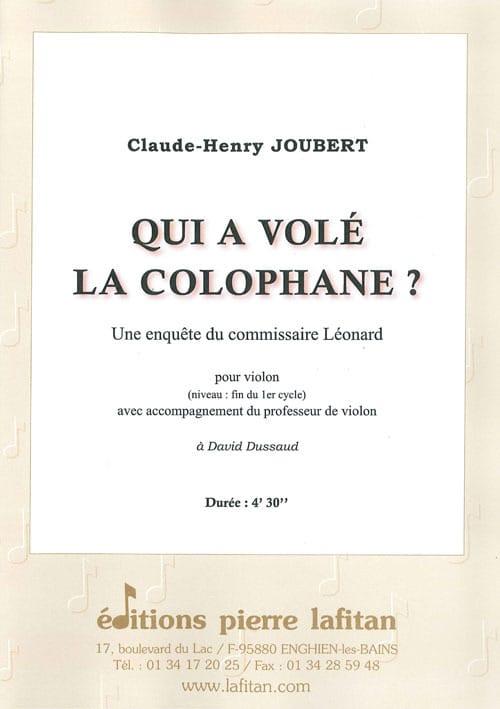 Claude-Henry Joubert - 誰がロジンを盗んだ? - Partition - di-arezzo.jp