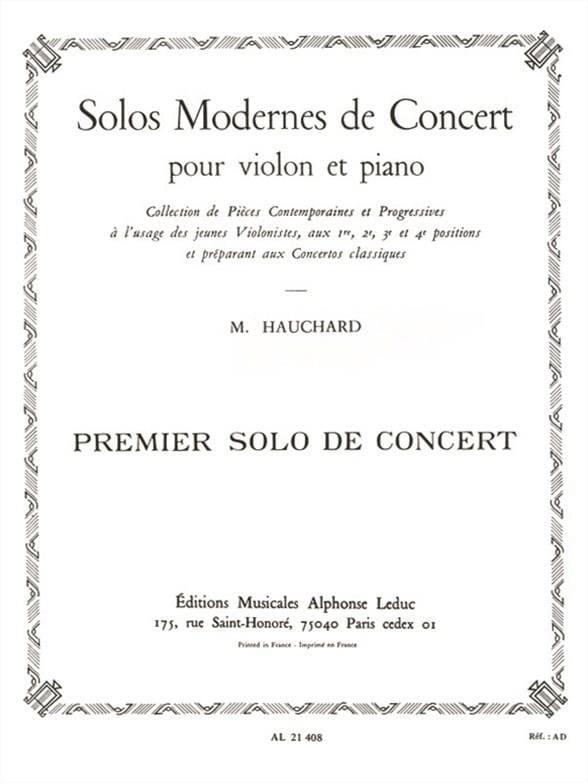 Maurice Hauchard - Concierto Solo n ° 1 - Partition - di-arezzo.es