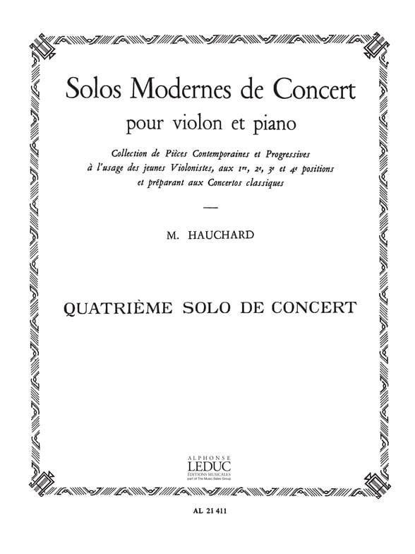 Maurice Hauchard - Concierto Solo n ° 4 - Partition - di-arezzo.es