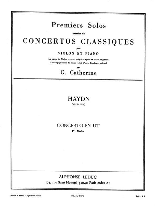 HAYDN - 1st Solo of the C Concerto - Partition - di-arezzo.co.uk